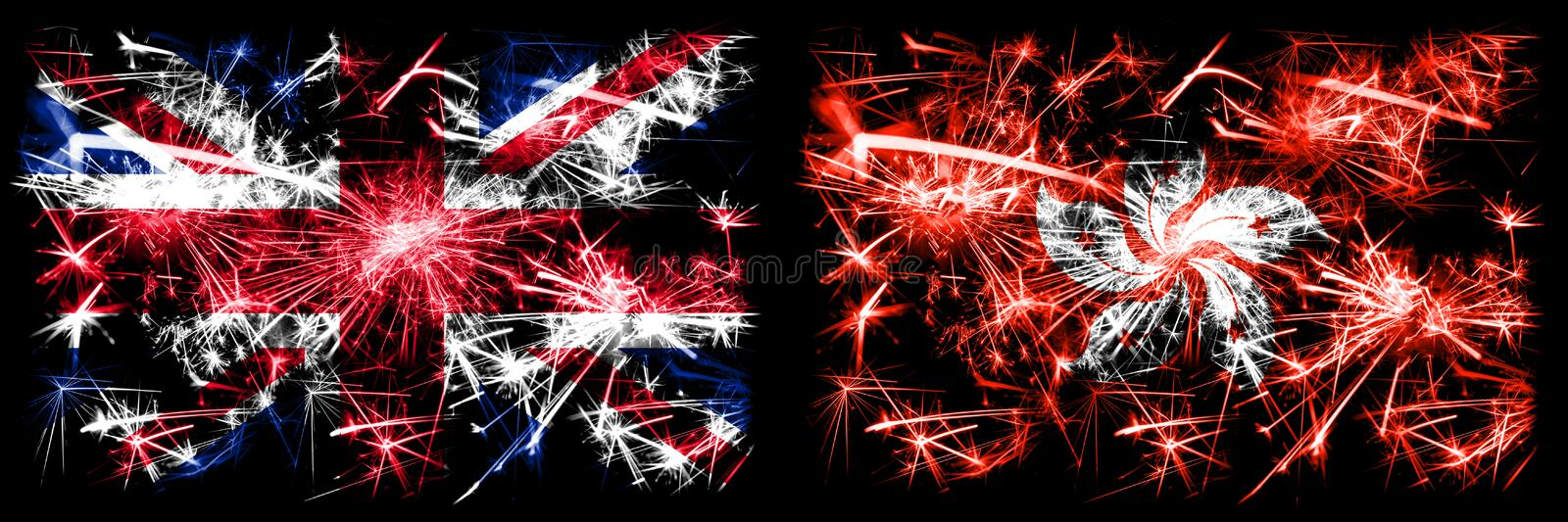 Great Britain, United Kingdom vs Hong Kong, China New Year celebration travel sparkling fireworks flags concept background. Combination of two abstract states royalty free stock images