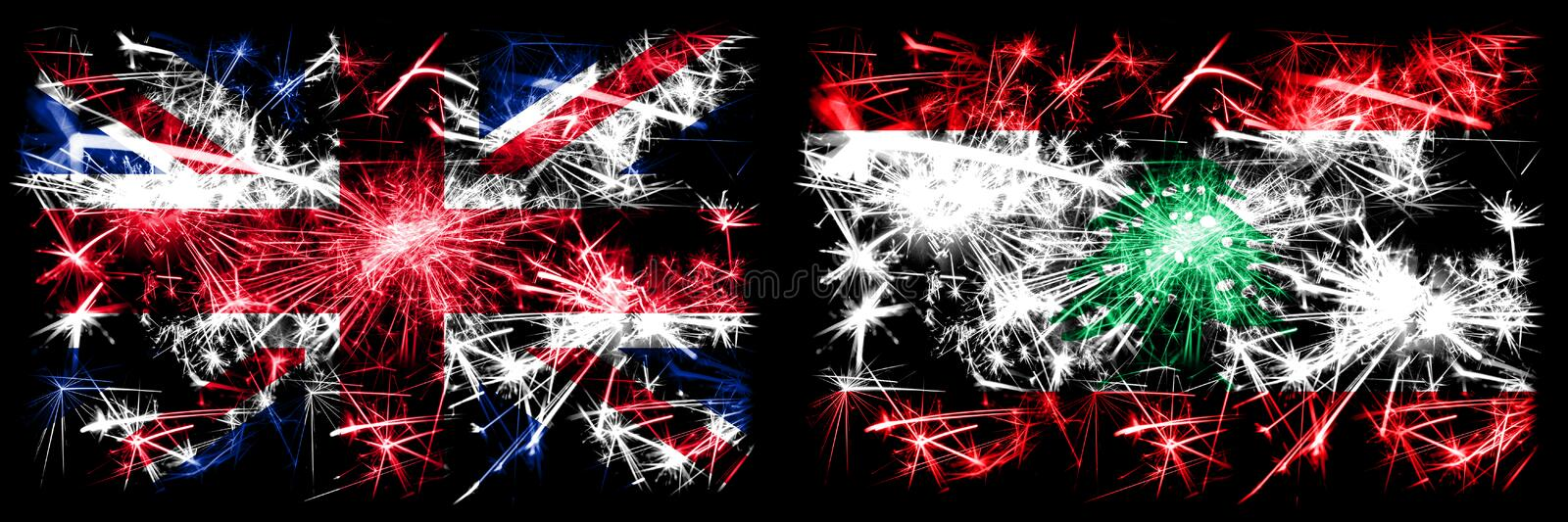 Great Britain, United Kingdom vs Lebanon, Lebanese New Year celebration travel sparkling fireworks flags concept background. Combination of two abstract states stock image