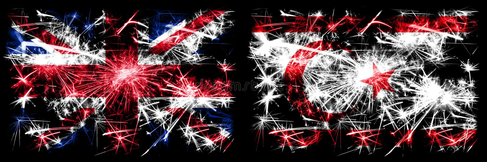 Great Britain, United Kingdom vs Northern Cyprus New Year celebration travel sparkling fireworks flags concept background. Combination of two abstract states stock images