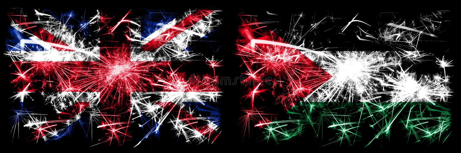 Great Britain, United Kingdom vs Palestine, Palestinian New Year celebration travel sparkling fireworks flags concept background. Combination of two abstract stock photos