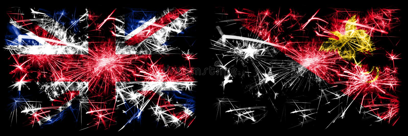 Great Britain, United Kingdom vs Papua New Guinea New Year celebration travel sparkling fireworks flags concept background. Combination of two abstract states royalty free stock photo
