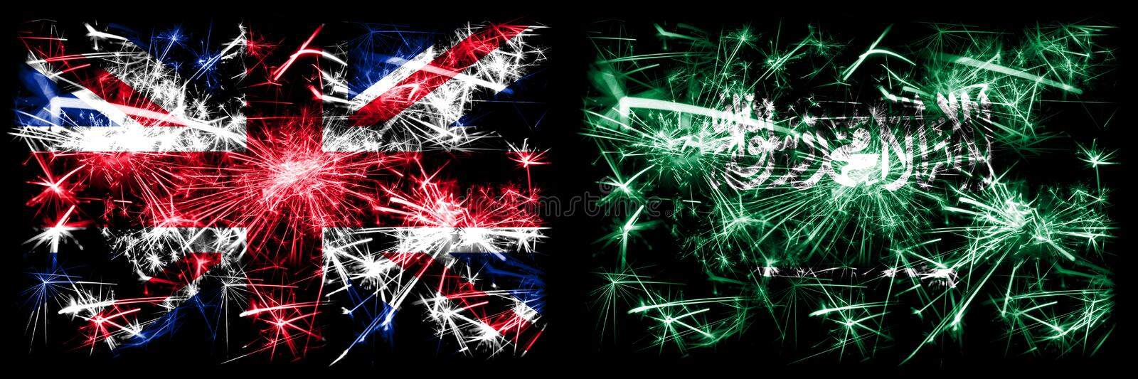 Great Britain, United Kingdom vs Saudi Arabia, Arabian New Year celebration travel sparkling fireworks flags concept background. Combination of two abstract stock photos