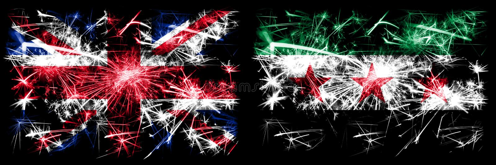 Great Britain, United Kingdom vs Syria, Syrian Arab Republic, three stars, observed New Year celebration travel sparkling. Fireworks flags concept background royalty free stock photos