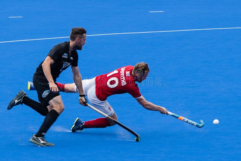 Great Britain v New Zealand - Men`s FIH Field Hockey Pro League. GB attack that led to a goal at the men`s FIH Pro Hockey League match between GB and New Zealand stock photography