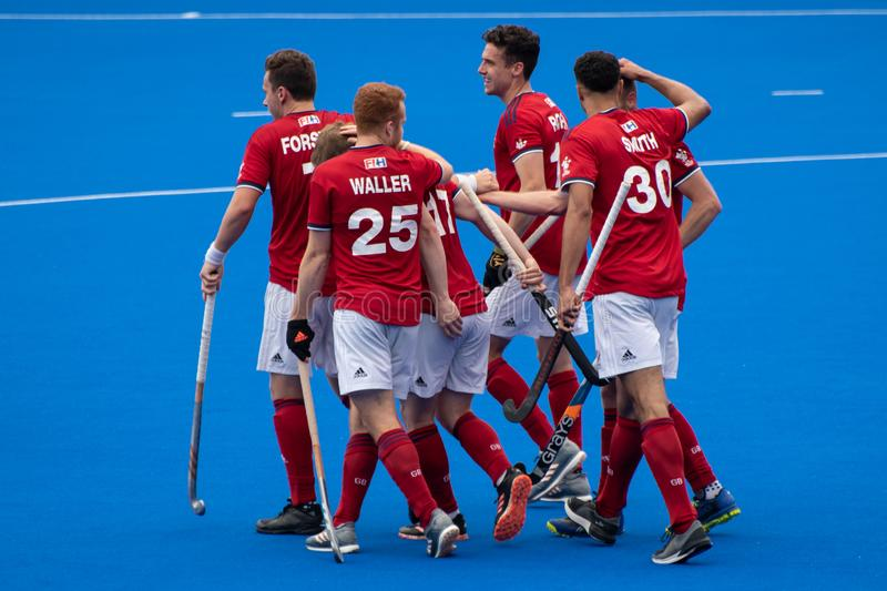 Great Britain v New Zealand - Men`s FIH Field Hockey Pro League. GB mens celebrating after a goal at the men`s FIH Pro Hockey League match between GB and New stock images