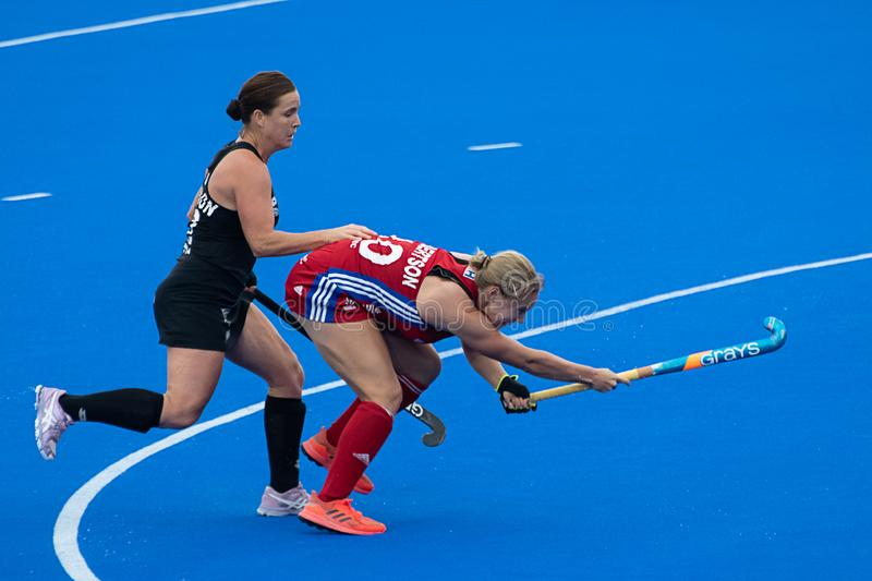 Great Britain v New Zealand - Women`s FIH Field Hockey Pro League. Clear foul at the women`s FIH Pro Hockey League match between GB and New Zealand at Twickenham royalty free stock photo