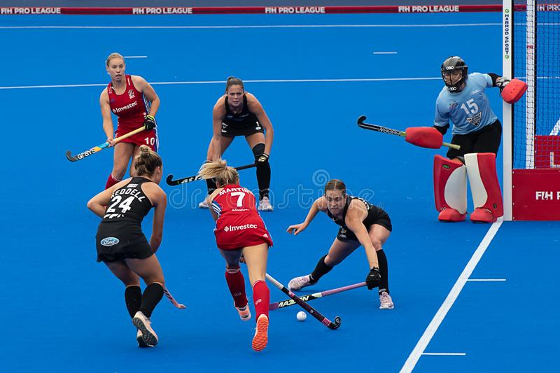 Great Britain v New Zealand - Women`s FIH Field Hockey Pro League. Hannah Martin with the ball in the circle at the women`s FIH Pro Hockey League match between stock image