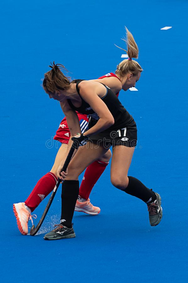 Great Britain v New Zealand - Women`s FIH Field Hockey Pro League. Hannah Martin winning the ball at the women`s FIH Pro Hockey League match between GB and New stock image