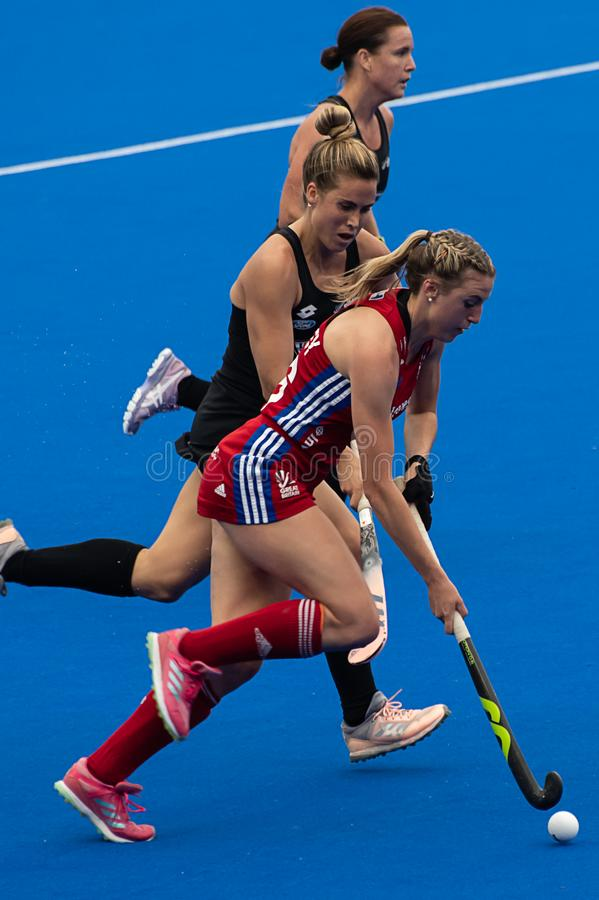 Great Britain v New Zealand - Women`s FIH Field Hockey Pro League. Lily Owsley making an attack at the women`s FIH Pro Hockey League match between GB and New royalty free stock photo