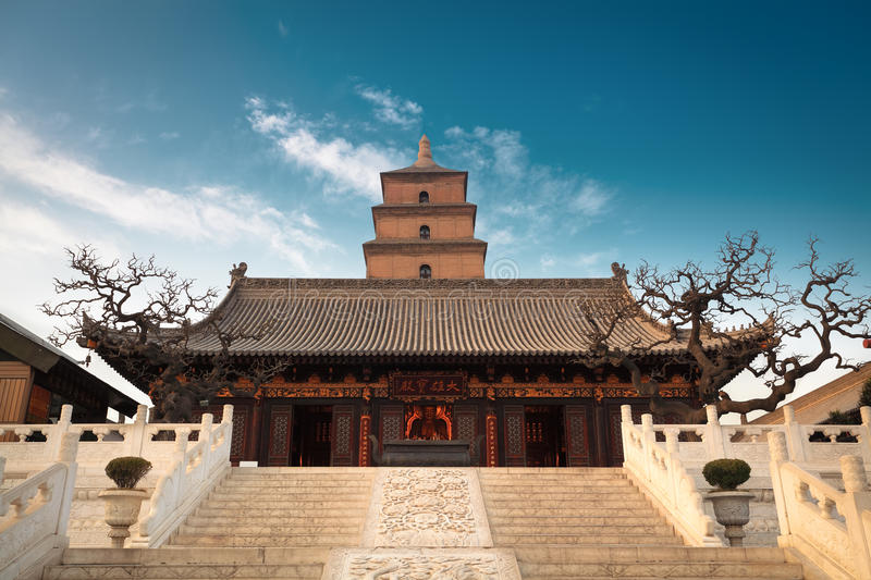 The great buddha's hall with giant wild goose pagoda. Background in Xian, China royalty free stock photo