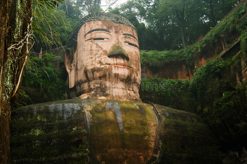 Great buddha in leshan, sichuan, china. The biggest buddha statue in the world, sculpted in the mountains in leshan, sichuan, south china royalty free stock photo