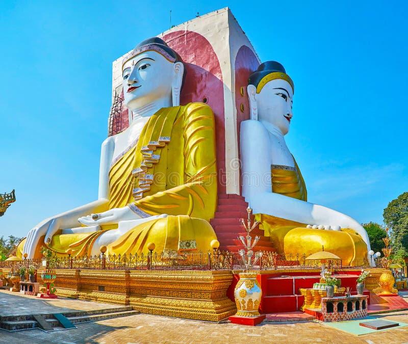 Explore the Buddha statues of Kyaik Pun Pagoda, Bago, Myanmar stock images