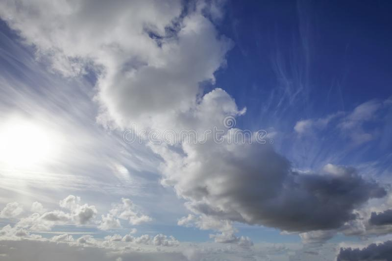 Great bue sky and clouds 3066. Beautiful skies with white clouds and sunshine. Blue sky and heavenly sunlight nature background stock photo