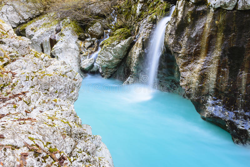 Great canyon of Soca river, Slovenia royalty free stock photo