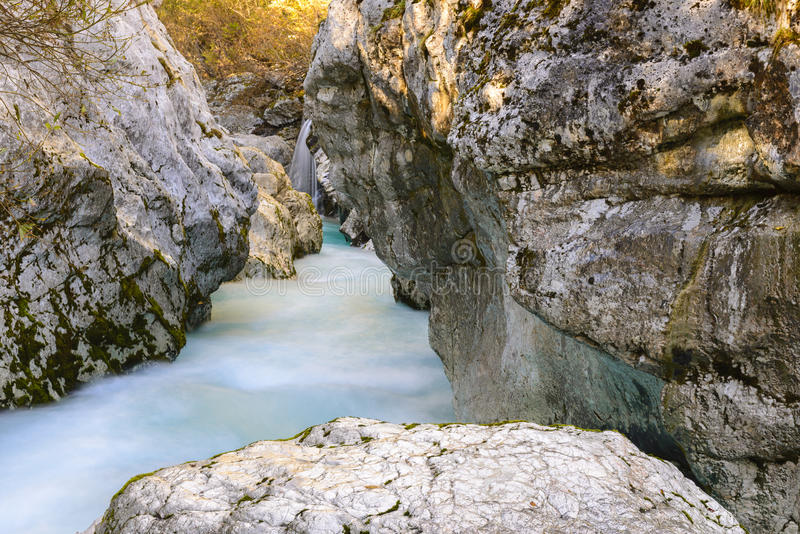 Great canyon of Soca river, Slovenia stock image