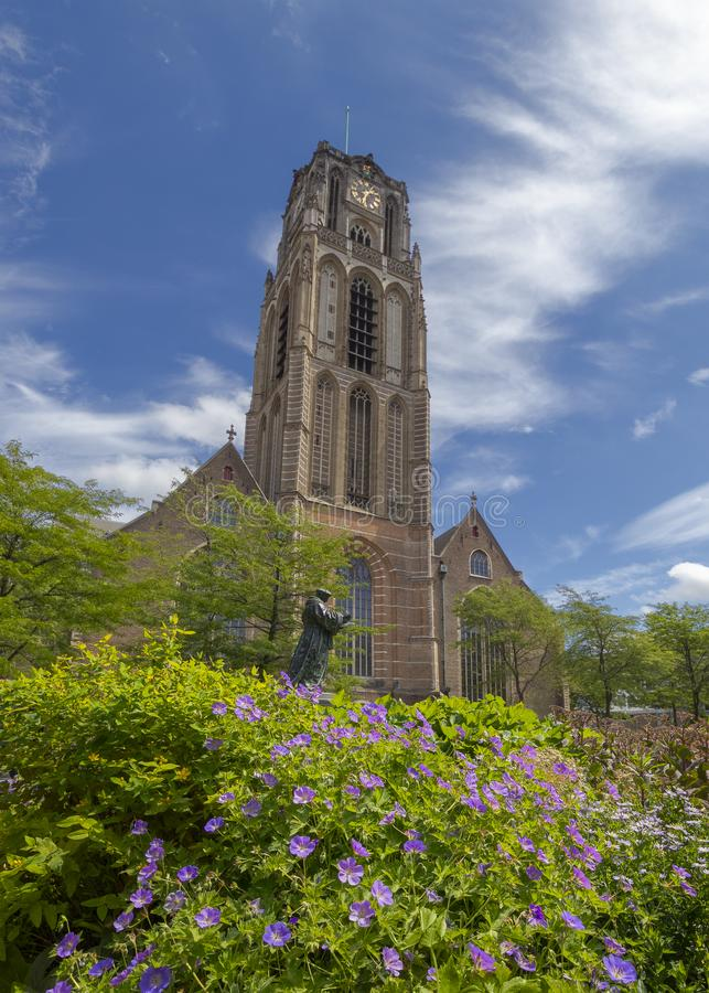 View of the Great Church, Laurenskerk, in the center of the city of Rotterdam, The Netherlands. Great Church, Lawrence Church, in the center of the city of royalty free stock photography