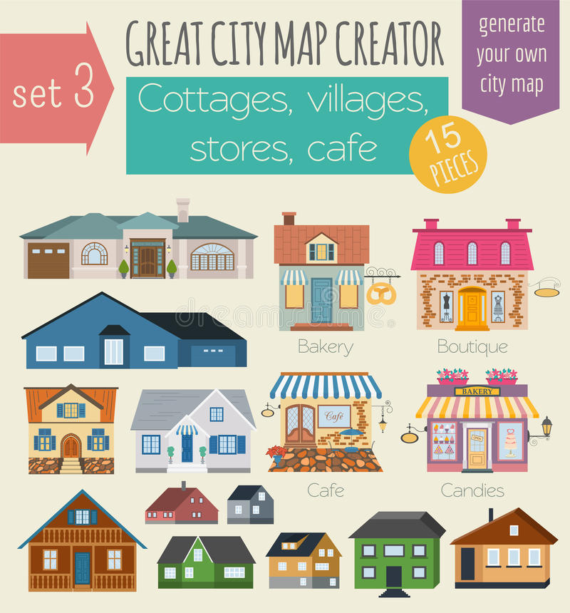 Great city map creator. House constructor. House, cafe, restaurant, shop, infrastructure, industrial, transport, village and. Countryside. Make your perfect vector illustration