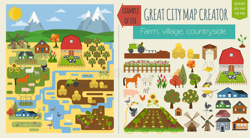 Great city map creator.Seamless pattern map. Village, farm, countryside, agriculture. Make your perfect city royalty free illustration