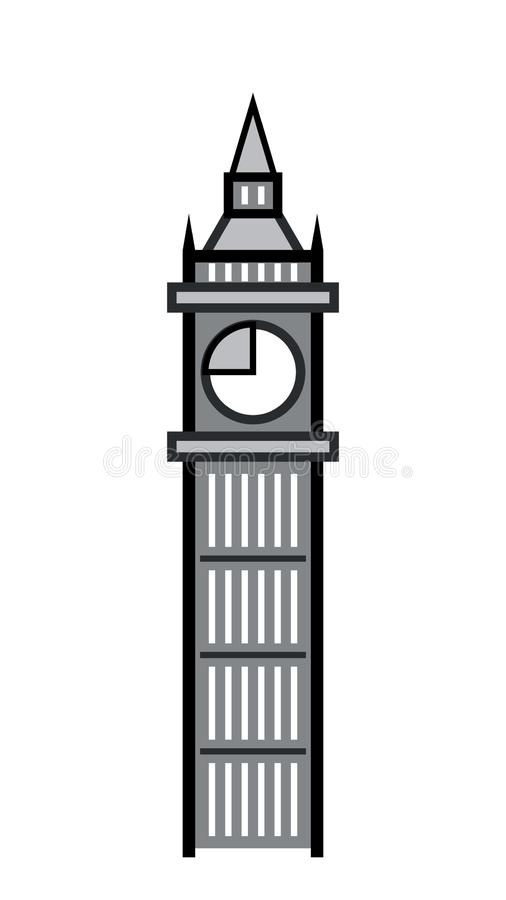 The great clock tower and its bell. royalty free illustration