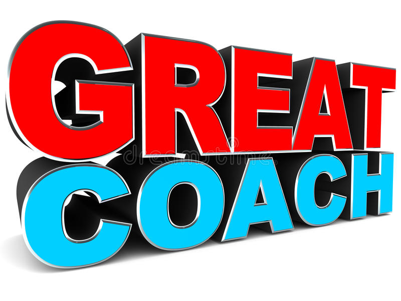 Great coach. Words on white, concept of training and skill transfer by coaching stock illustration