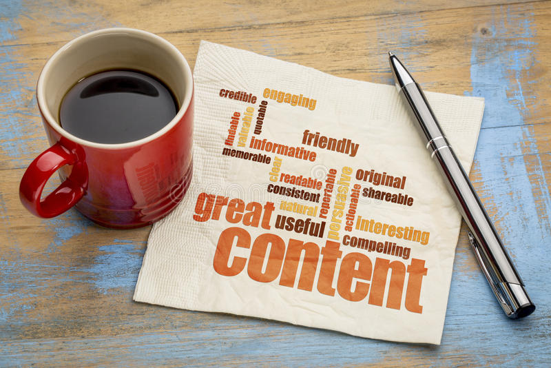 Great content concept on napkin. Business writing and content marketing concept - great content word cloud on a napkin with a cup of coffee royalty free stock image