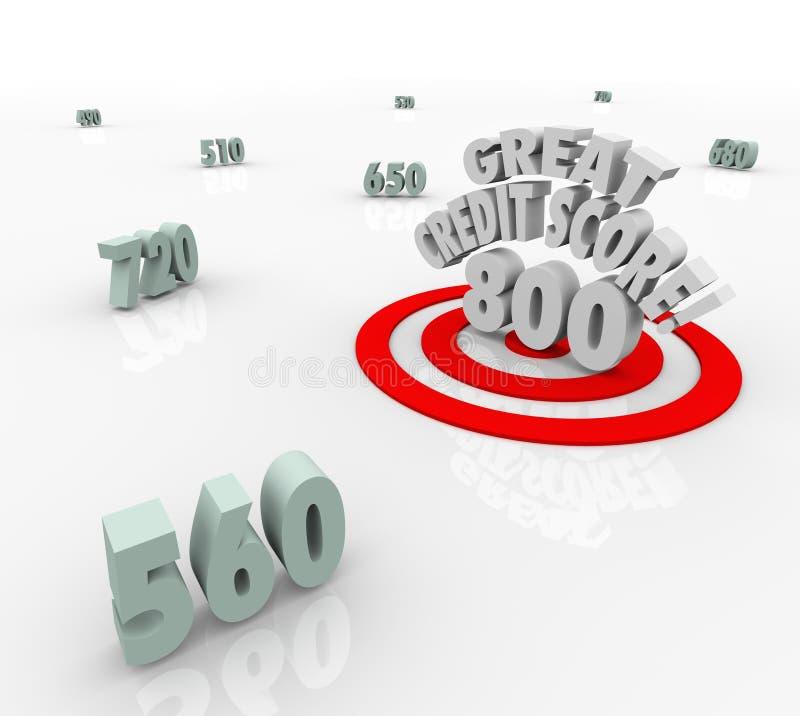 Great Credit Score Numbers Target High Rating Loan Borrow vector illustration