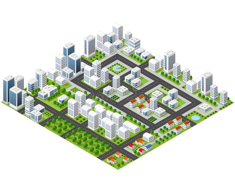 Great 3D metropolis. Of skyscrapers, houses, gardens and streets in a three-dimensional isometric view stock illustration