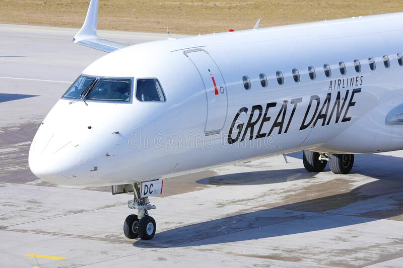 Great Dane Airlines at Innsbruck Airport, INN royalty free stock photos