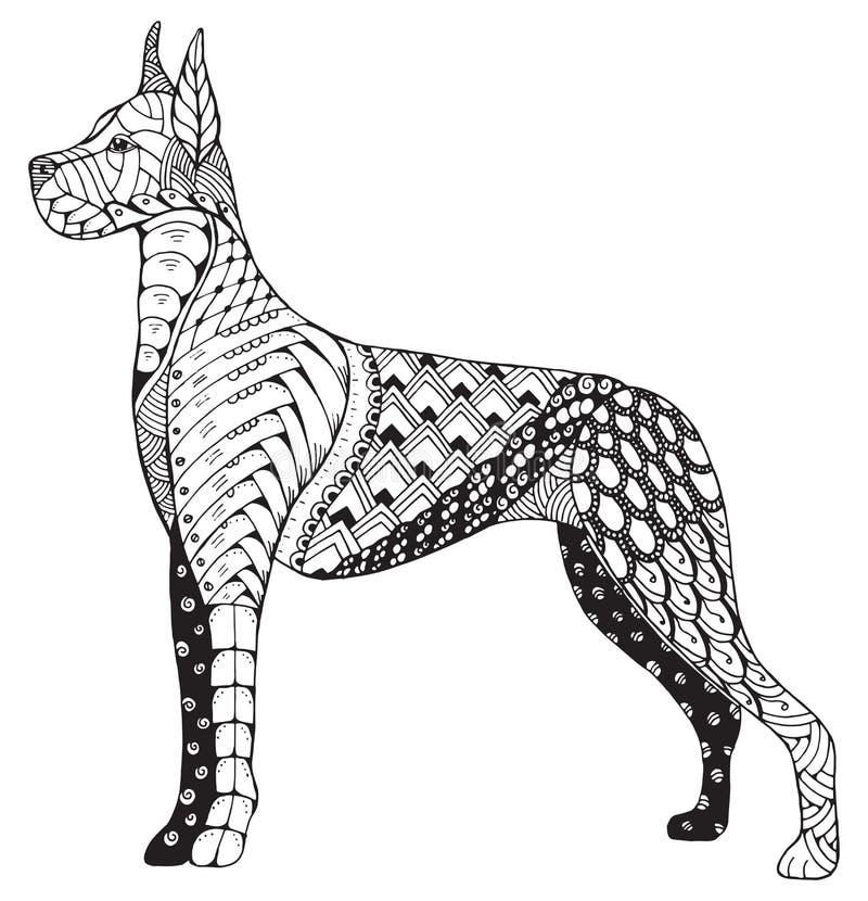 Great Dane jest prześladowanym zentangle stylizującego, freehand ołówek, ręka rysująca royalty ilustracja