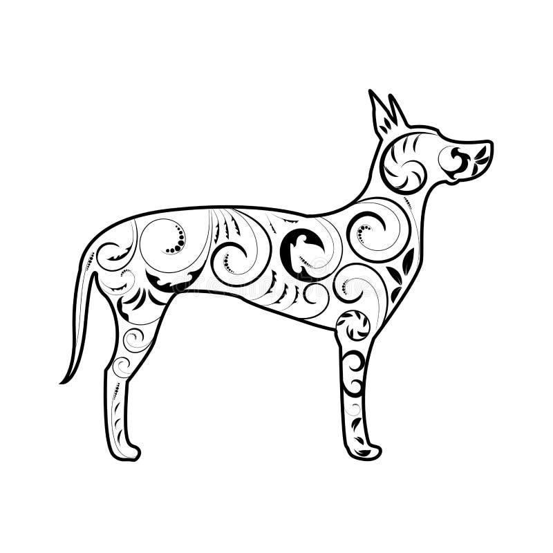 Great Dane psa sylwetka z ornamentem w czerni royalty ilustracja