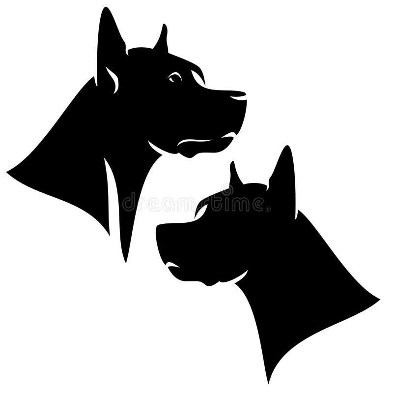 Great dane wektoru psia czarna głowa royalty ilustracja
