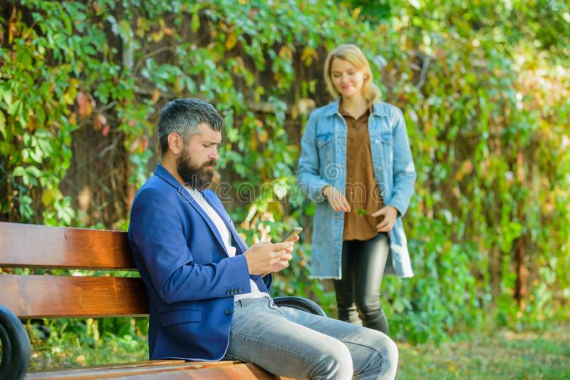 Great date tips. Love relations romantic feelings. Romantic concept. Couple in love romantic date walk nature park. Background. Man bearded hipster wait royalty free stock image