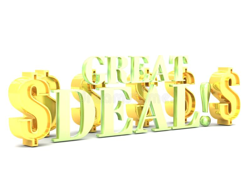 Great deal word lettering with dollar signs