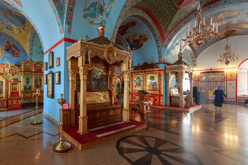 Great decoration and interior inside of the Assumption Cathedral on the territory of the Astrakhan Kremlin royalty free stock image