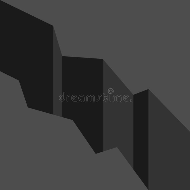Great deep black abyss. Great deep dark black abyss, rift or gap. Problem, crisis, obstacle, relationship and disaster concept. Flat design. Vector illustration vector illustration