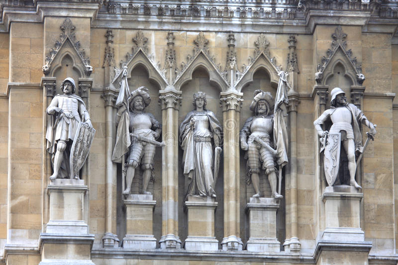 Great detail of statues on the Rathaus (Town Hall) Vienna. Great detail of statues on the Rathaus (Town Hall) is a building in Vienna, Austria stock images