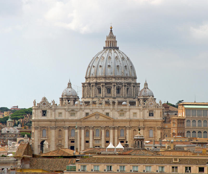 Great dome of the Church of San Pietro in Vaticano. Beautiful great dome of the Church of San Pietro in Vaticano stock image