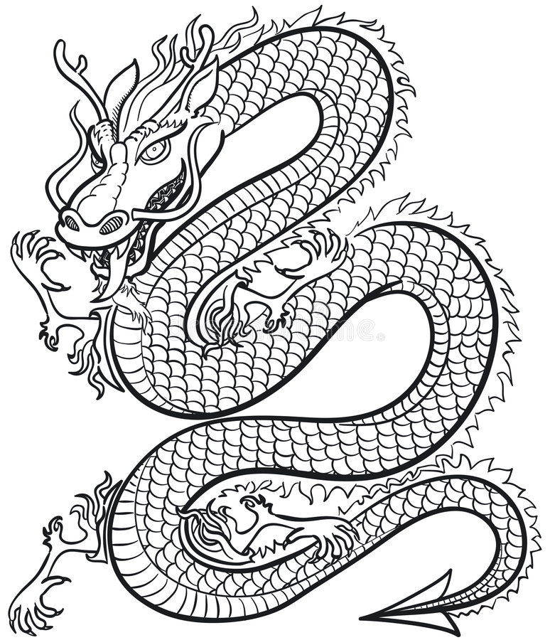 Great Dragon. Great black and white Dragon, vector illustration