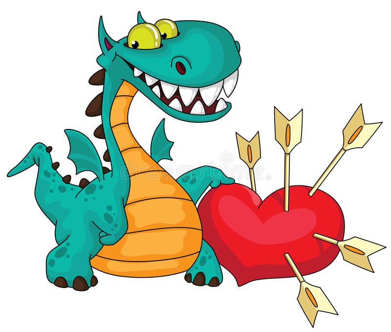 Download Great dragon and heart stock vector. Illustration of cute - 22036366