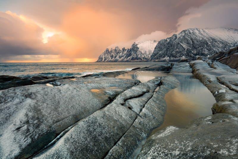 Great Dramatic Sky Sunrise Landscape. Wild Northern nature stock photos
