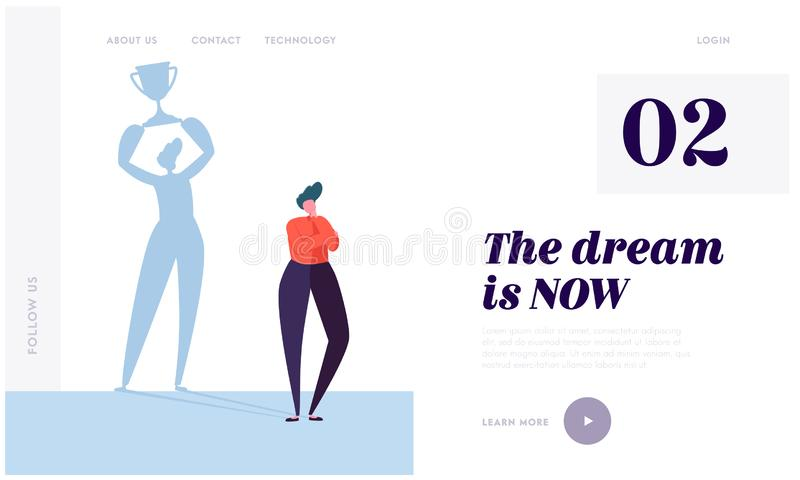 Great Dream Landing Page. Character Imagine Ideal Life. Carefully Plan and Stay Focused. Necessary Motivation and Self-discipline royalty free illustration