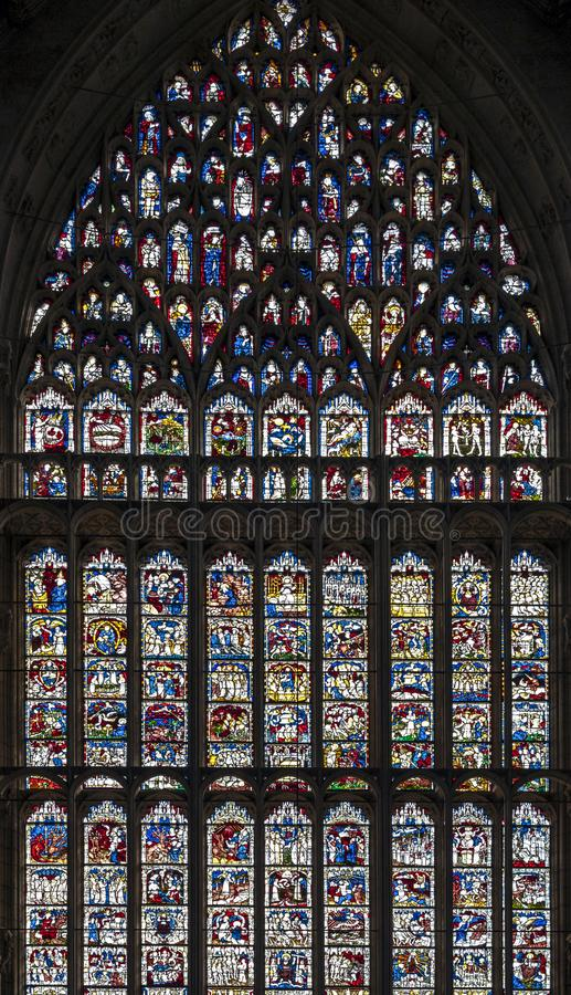 The Great East Window, largest expanse of medieval stained glass in United Kingdom at the East End of York Minster, UK. York, England - April 2018: The Great royalty free stock photos
