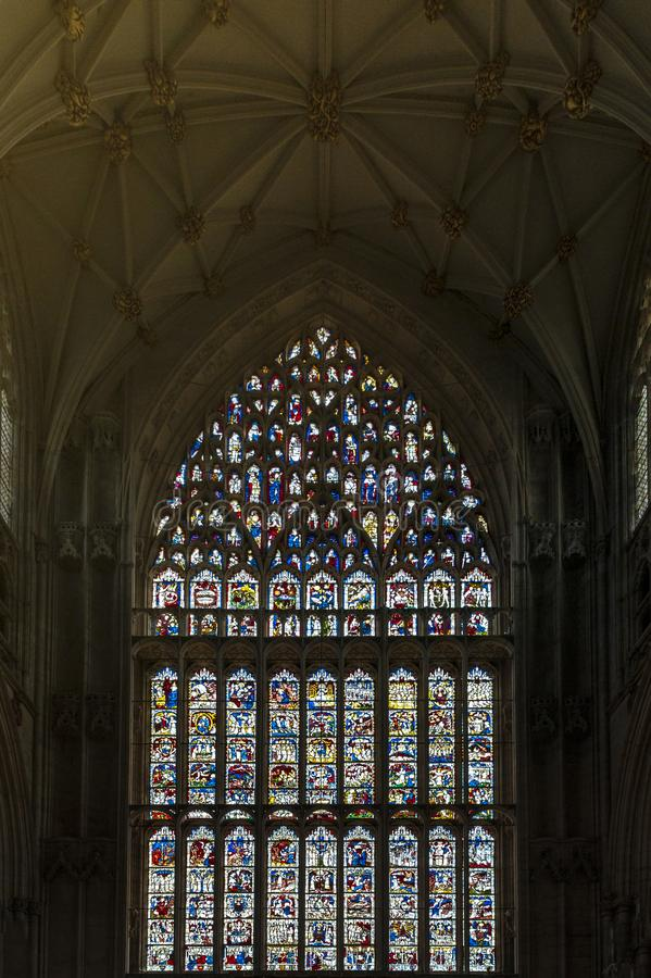 The Great East Window, largest expanse of medieval stained glass in United Kingdom at the East End of York Minster, UK. York, England - April 2018: The Great royalty free stock photo