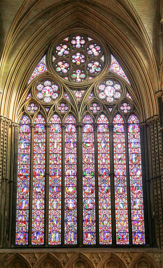 Lincoln Cathedral Great East window stock photos