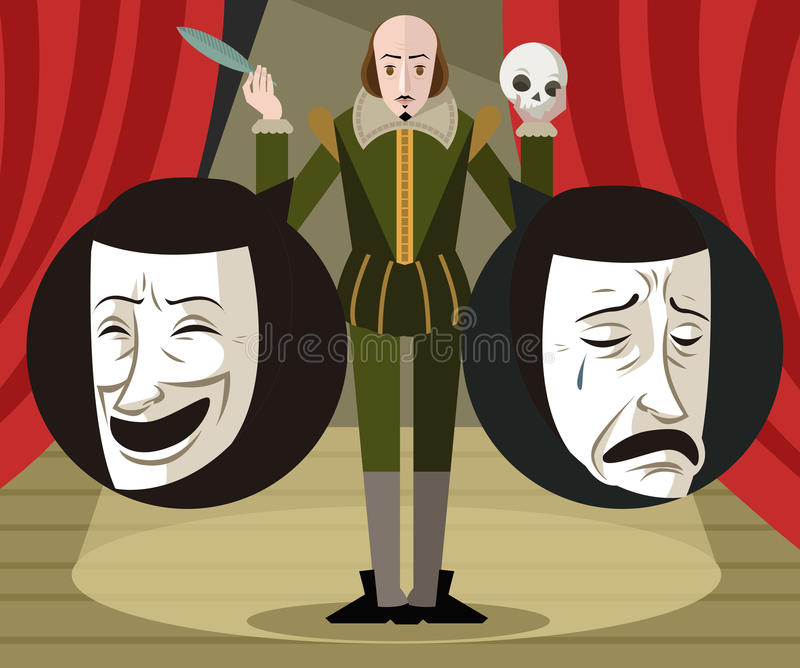 Great english writer talking about theater comedy and drama masks. Two theater masks sad and happy faces representing comedy and drama in the shadows vector illustration
