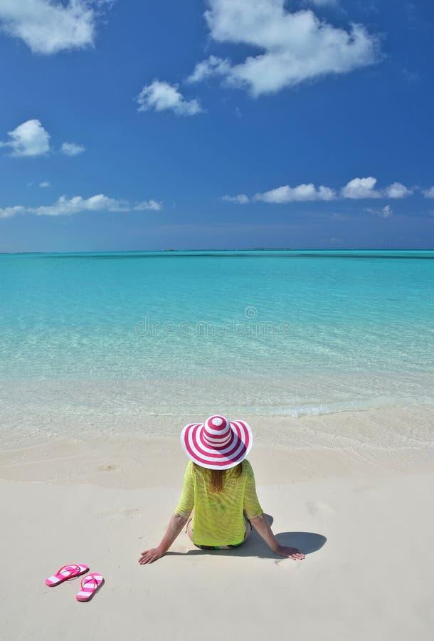 Great Exuma, Bahamas. Girl on the beach. Great Exuma, Bahamas stock image