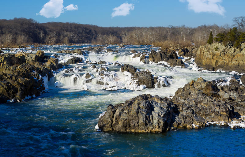 Great Falls na Potomac na zewnątrz washington dc fotografia royalty free