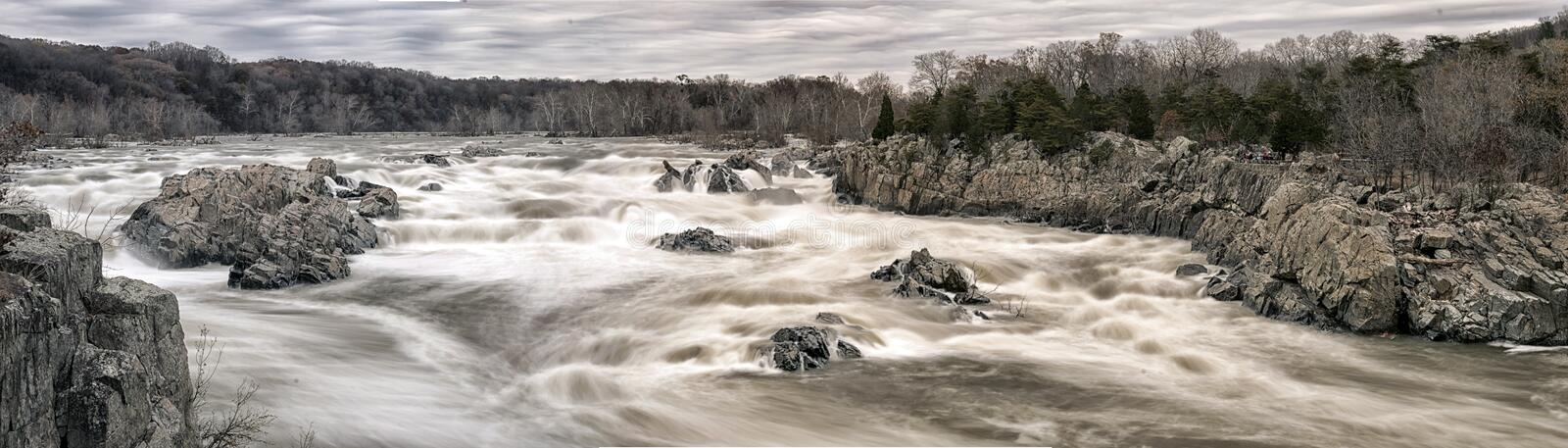 Great Falls Park Panorama royalty free stock images