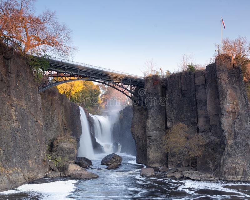 Paterson, NJ / United States - Nov. 9, 2019: Landscape view of  of The Great Falls of the Passaic River. The Great Falls of the Passaic River is a prominent royalty free stock images