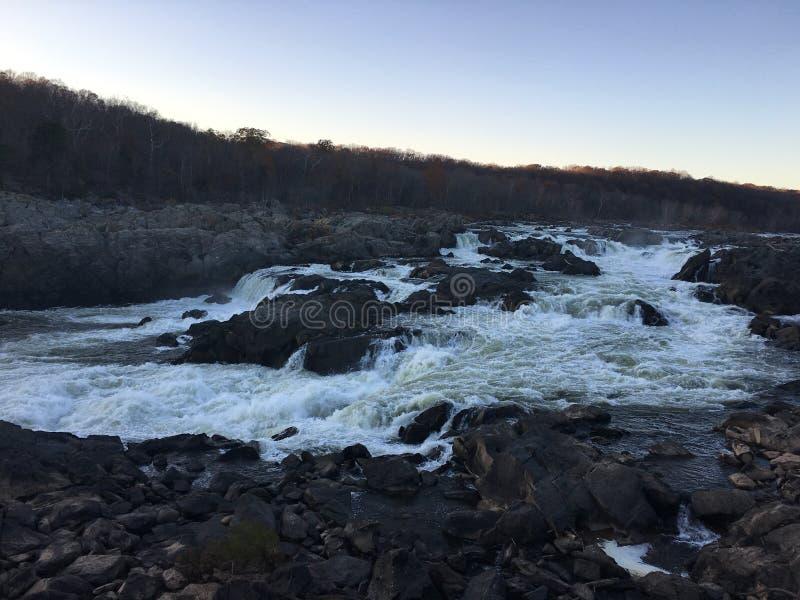 Great Falls potente al crepuscolo fotografia stock libera da diritti